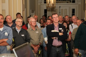 Guests at Clarendon House listen to Simon Gawesworth's presentation